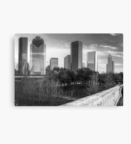 Downtown Houston Texas City Skyline - Black and White Canvas Print