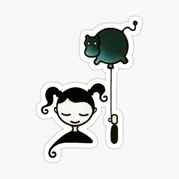 Hippopotamus Dream – Girl with Balloon Sticker