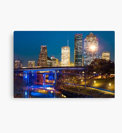 Downtown Houston City Skyline At Night On The Buffalo Bayou Canvas Print