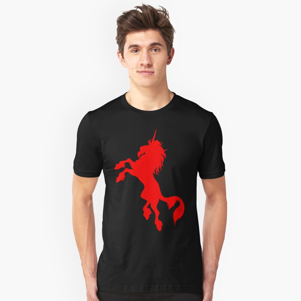 Red Unicorn by Cheerful Madness!! Slim Fit T-Shirt