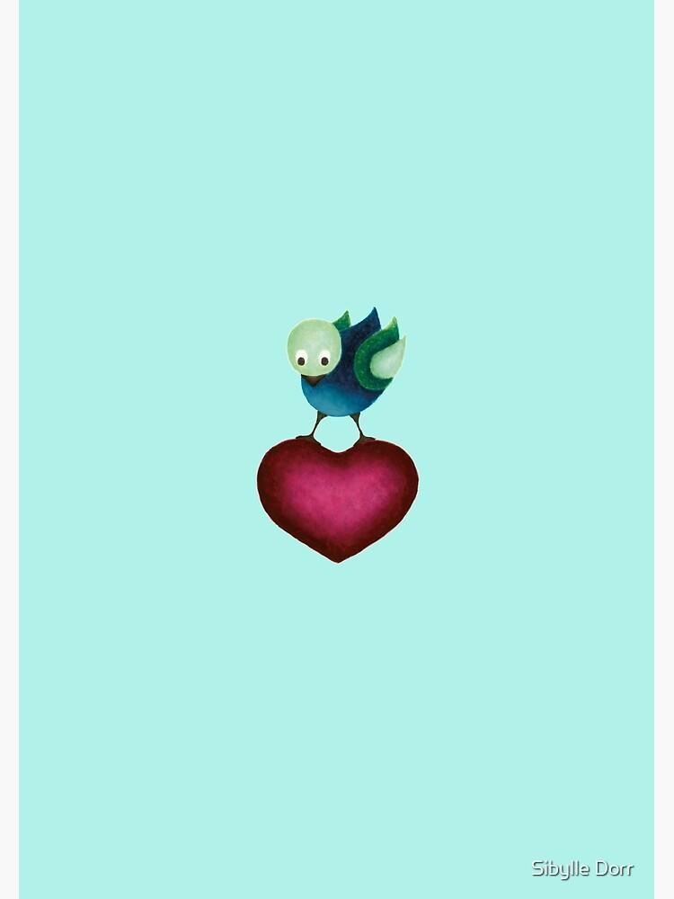 Soft Landing – Bird on Heart by SibylleDorr