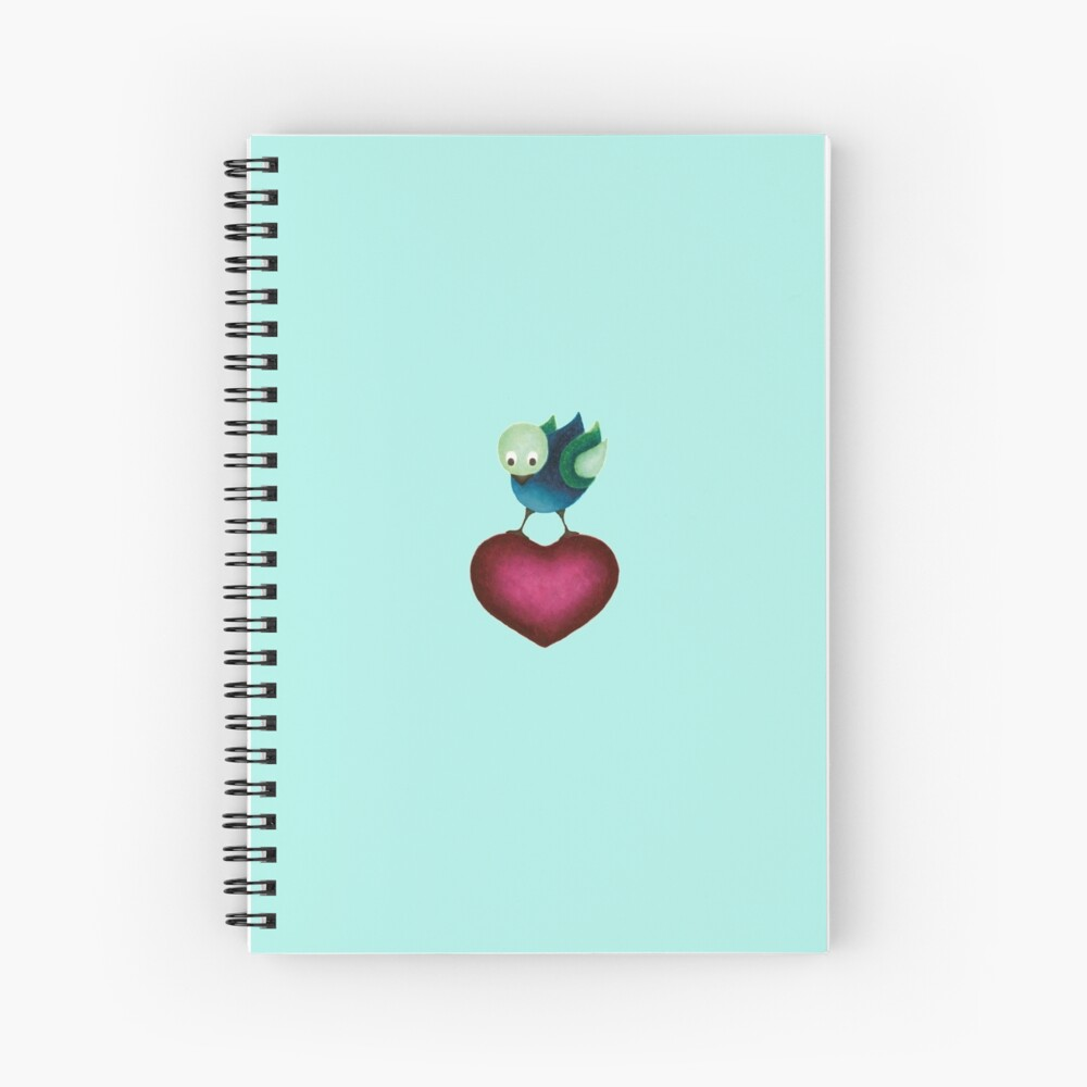 Soft Landing – Bird on Heart Spiral Notebook