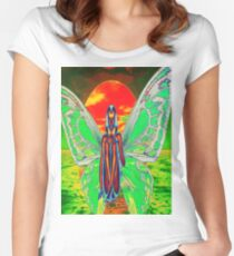 Butterfly Sunset Women's Fitted Scoop T-Shirt