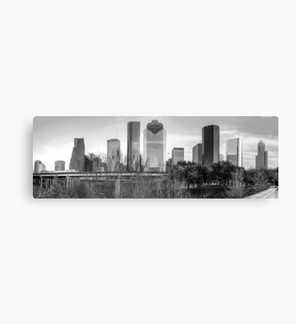 Downtown Houston Skyline Panorama in Black and White Canvas Print