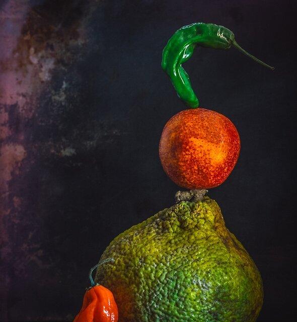 Citrus and pepper still life by alan shapiro