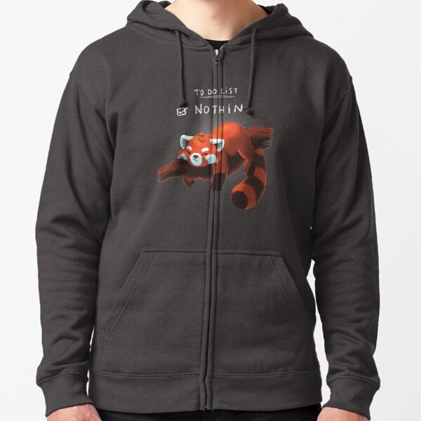 Red Panda Day - to Do List Nothing - Cute Fluffy Animal - Procrastinate Zipped Hoodie