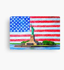 The Statue Of Liberty And The American Flag - Patriotic Art Canvas Print