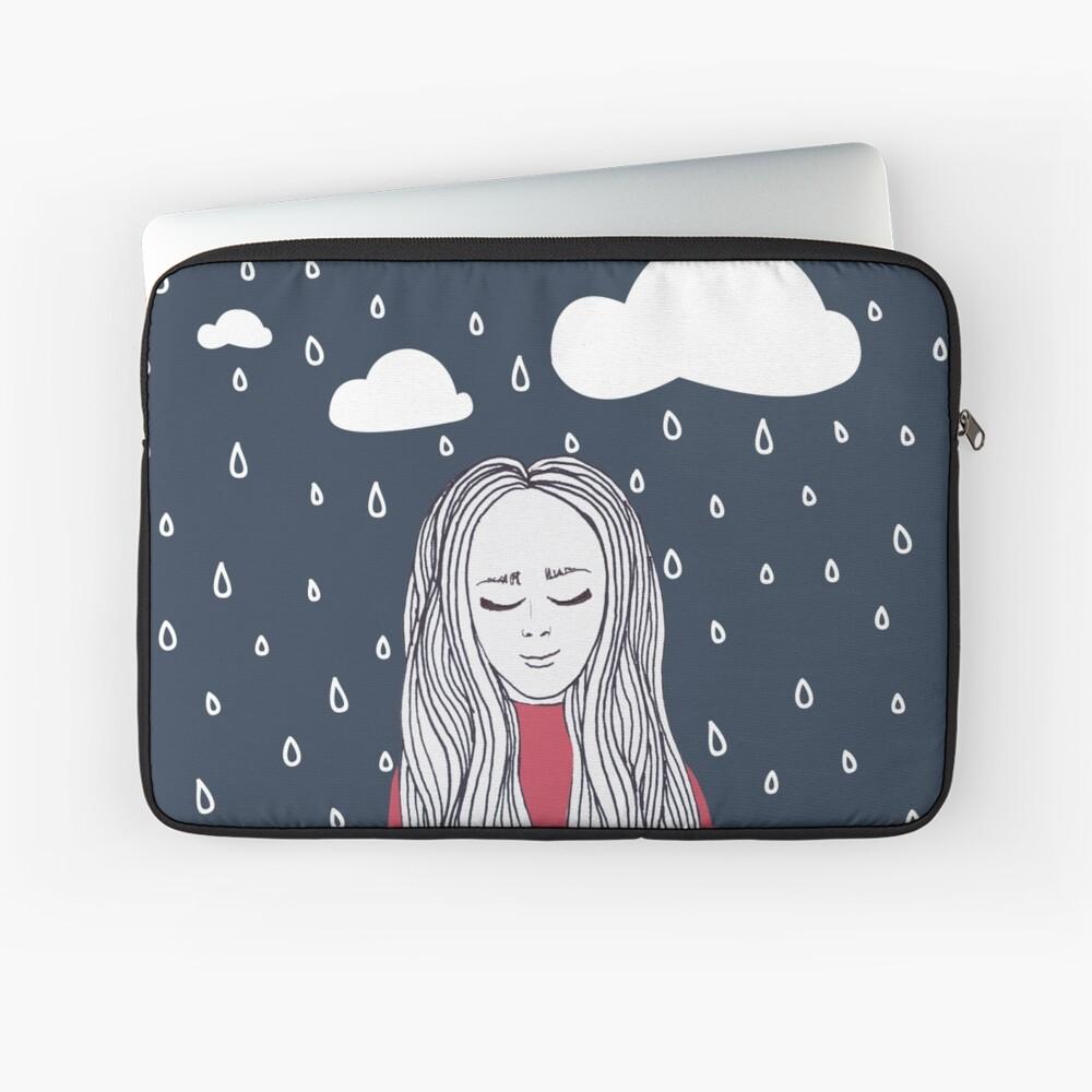 Happy girl in the rain Laptop Sleeve