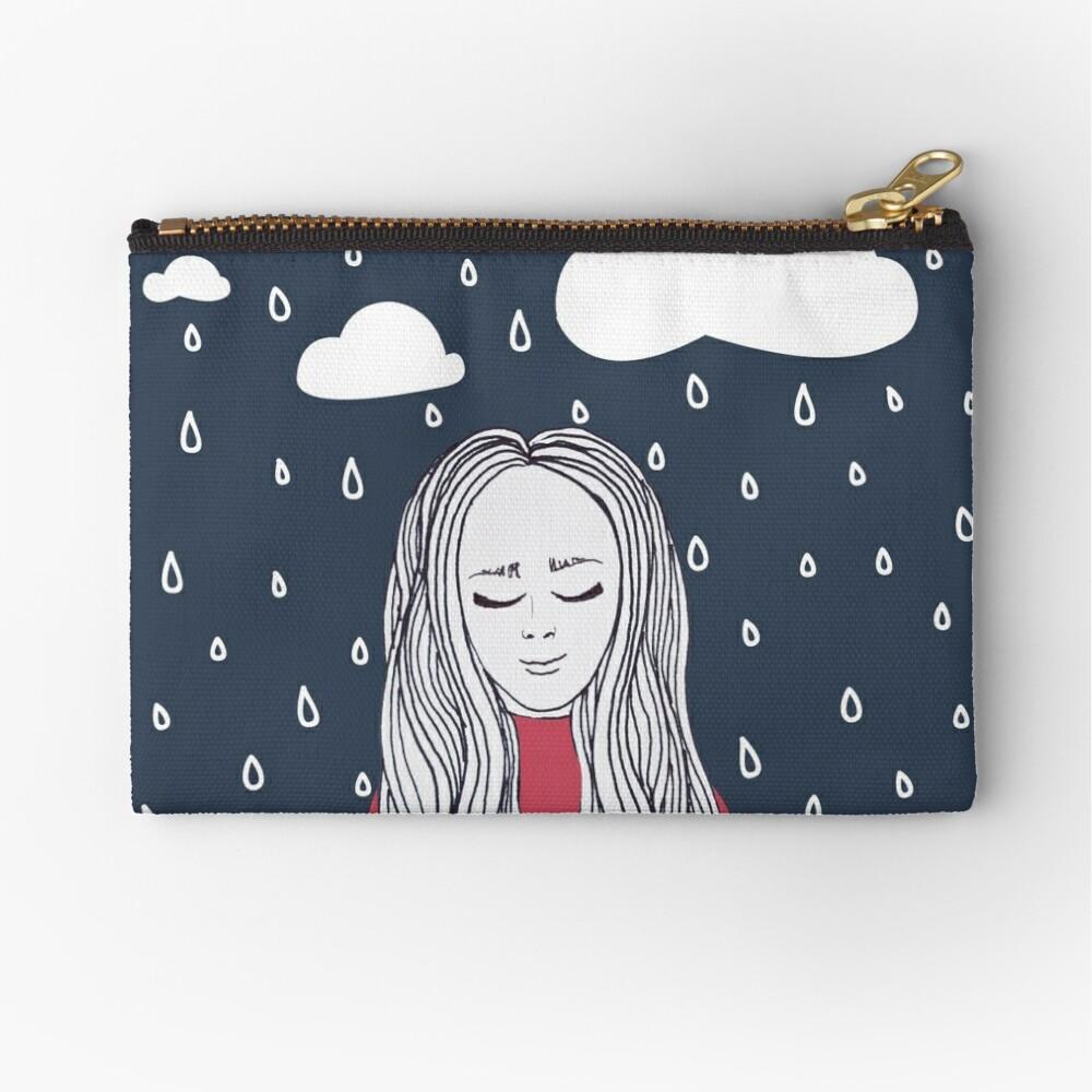 Happy girl in the rain Zipper Pouch