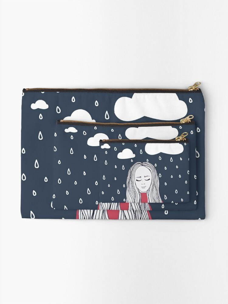 Alternate view of Happy girl in the rain Zipper Pouch