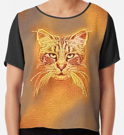 Golden Cat #Art Chiffon Top