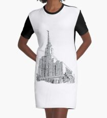 d16585c37755 Oquirrh Mountain LDS Temple Ink Drawing Graphic T-Shirt Dress