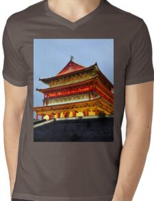 Drum Tower of Xi'An Mens V-Neck T-Shirt