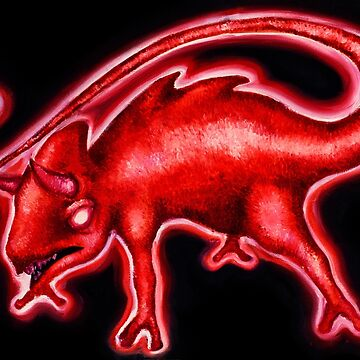 Red Neon Angry Chameleon by Chamelleontime