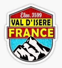 Val d'Isere France Skiing SAVOIE TARENTAISE VALLEY Ski Snowboard Mountain Silhouette Skis 4 Sticker
