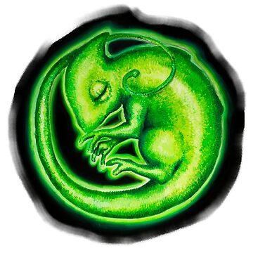 Calm Green Neon Chameleon by Chamelleontime