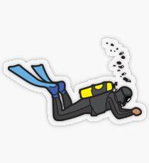 Scuba Diver - Black Wetsuit Transparent Sticker