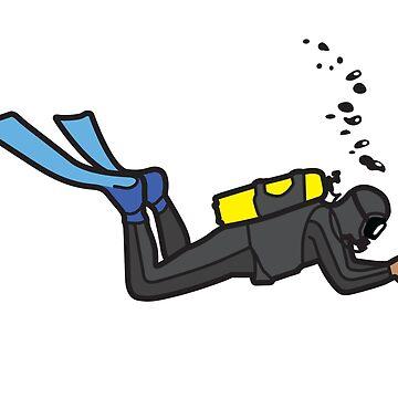 Scuba Diver - Black Wetsuit by trebordesign