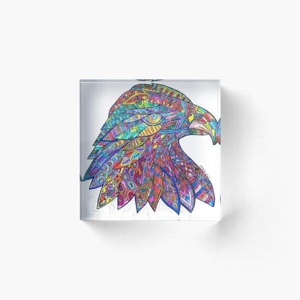 Bald eagle mandala Acrylic Block