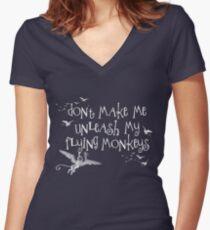 Wizard of Oz Inspired - Don't Make Me Release My Flying Monkeys - Chalkboard Art - Parody Women's Fitted V-Neck T-Shirt