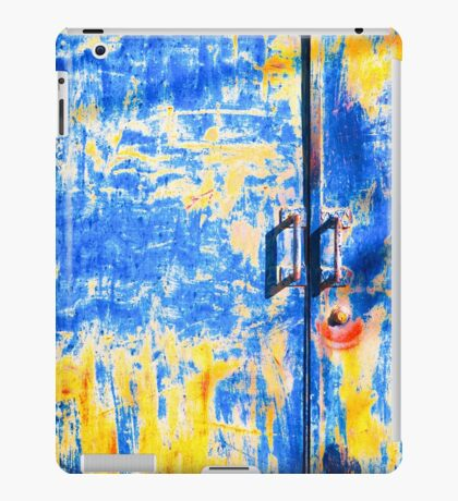 Rusted blue and yellow door iPad Case/Skin