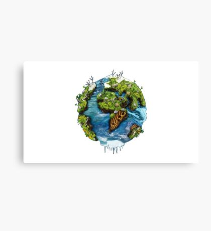 Planet Earth Illustrated Canvas Print