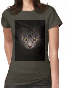 Muzzle and bright yellow eyes cat  Womens Fitted T-Shirt