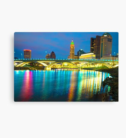 Reflected Colors of a Columbus Skyline at Dusk Canvas Print