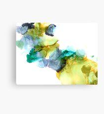 Aqua Blue Purple Eggplant Colorful Abstract Print Mustard Green Canvas Print