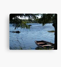 Rowing boat moored on the banks of Lough Eske, County Donegal, Ireland. Canvas Print