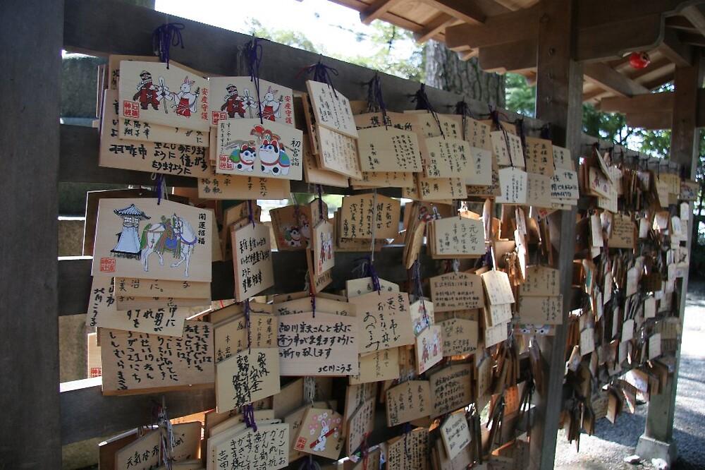 Ema boards - Ozaki Jinja Shrine - Kanazawa  by Trishy