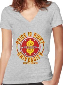 TV Game Show - TPIR (The Price Is...) Back To School Women's Fitted V-Neck T-Shirt