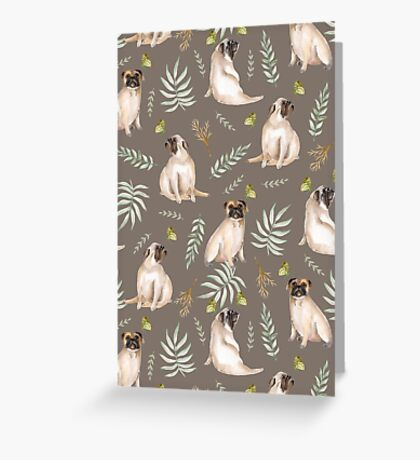 Pugs and butterflies. Brown pattern Greeting Card