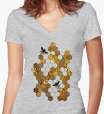 Golden Honeycomb Women's Fitted V-Neck T-Shirt
