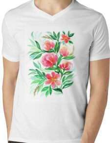 Pink Peach Flower in Watercolor Painting Mens V-Neck T-Shirt