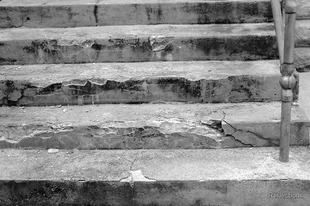 Black and White old concrete stone steps by Reflections