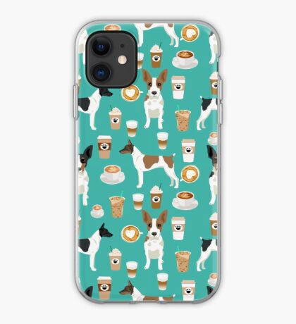 Rat Terrier coffee dog breed pet portrait dog pattern dog breeds gifts for dog lovers by PetFriendly iPhone Case