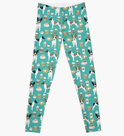 Rat Terrier coffee dog breed pet portrait dog pattern dog breeds gifts for dog lovers by PetFriendly Leggings