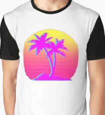 Retro Palm Trees with Sun Graphic T-Shirt