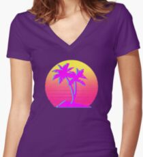 Retro Palm Trees with Sun Women's Fitted V-Neck T-Shirt