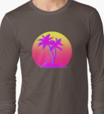 Retro Palm Trees with Sun Long Sleeve T-Shirt
