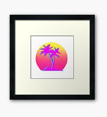 Retro Palm Trees with Sun Framed Print