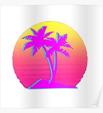 Retro Palm Trees with Sun Poster
