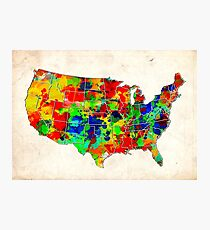 united states map usa map 2 Photographic Print