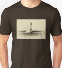 "Frankfort ""North Breakwater"" Lighthouse - Sepia Unisex T-Shirt"
