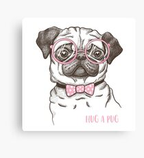 funny fashionable pug Canvas Print