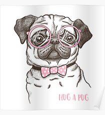 funny fashionable pug Poster
