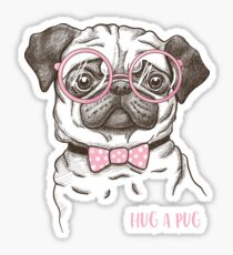 funny fashionable pug Sticker