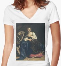 Caravaggio - Saint Catherine Of Alexandria Women's Fitted V-Neck T-Shirt