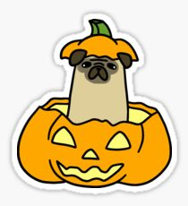 Jack O' Lantern Pug Sticker